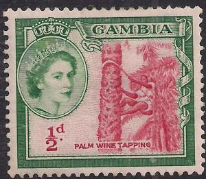 Gambia 1953 - 59 QE2 1/2d Palm Wine Tapping MM SG 171 ( D780 )