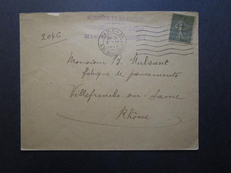 France WWI 1917 Under Secretary of War Cover - Z7072