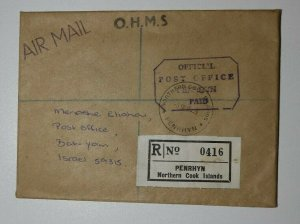 Penrhyn Northern Cook Is Cover OHMS GB UK OB Official Post Office Mail 1984
