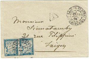 Indochina 1905 Saigon cancel on local cover, postage due, 5c Fr. General issues