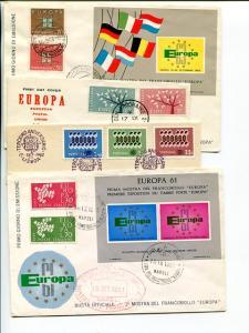 Europa 1961/1963 4 FDC unaddressed VF