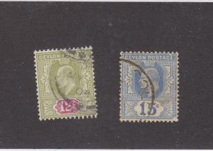 CEYLON  (MK984) # 171-172 VF-USED  12,15c  KING EDWARD VII ISSUES CAT VALUE $15
