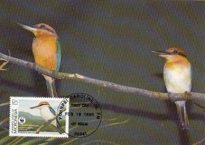 Micronesia 1990 Maxicard Sc #107 15c Micronesian kingfisher WWF