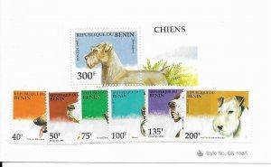 Benin 741-7 Dogs MNH cpl. set vf, 2020 CV $8.10
