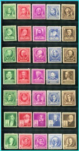 # 859-93  Mint Lightly Hinged Famous americans