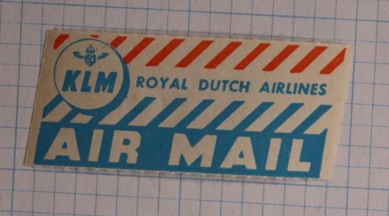 Via Airmail Etiquette Label seal ad Mint KLM Royal Dutch Airlines Logo advert