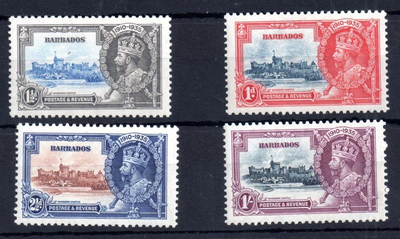 Barbados KGV 1935 Silver Jubilee mint LHM set SG241-244 WS11525