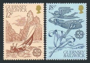 Guernsey 222-223 two sets, MNH. EUROPE CEPT-1981. Petit Bonhomme Andriou, Lily.