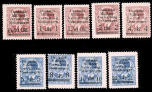 GERMAN OCCUPATION OF Montenegro 1943 OVERPRINTS OF YugoslaviaN STAMPS SET MNH...