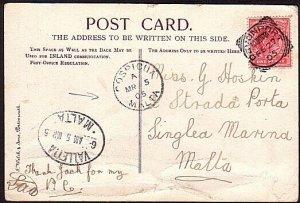 MALTA 1905 postcard ex UK with Valetta & Cospicua arrival marks............13591