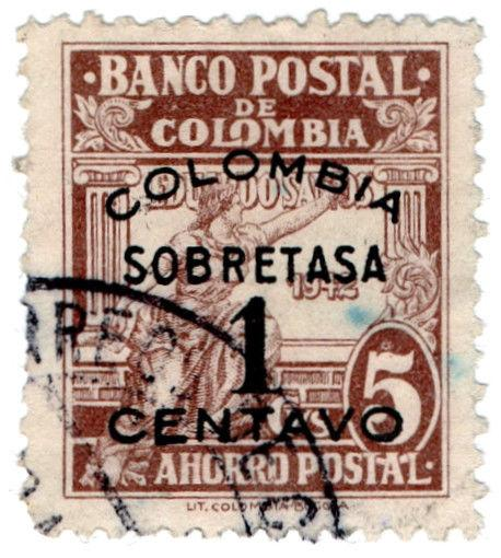 (I.B) Colombia Revenue : Postal Savings Bank 1c on 5c Surcharge