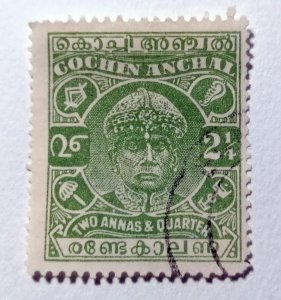 INDIA, Cochin Anchal, 1933, 2¼ Anna, green, SG60, used   #HS166