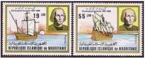 Mauritania 491-492,MNH.Michel 733-734. Christopher Columbus,1981.Ships.