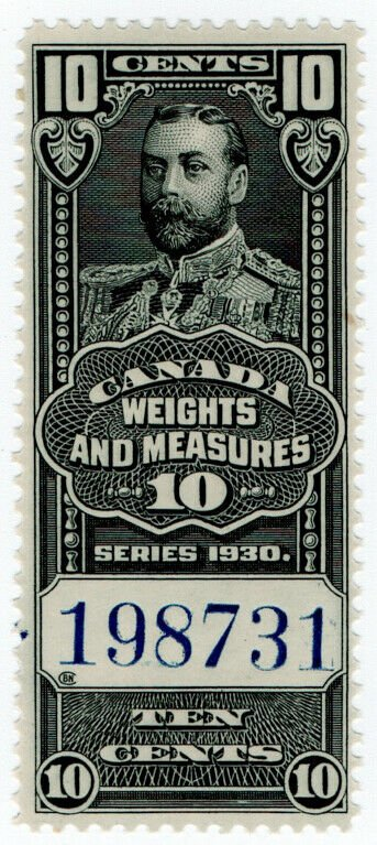 (I.B) Canada Revenue : Weights & Measures 10c