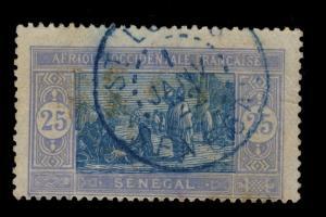 SÉNÉGAL - 1er JANVIER 1922 - CAD DOUBLE CERCLE St-LOUIS/SÉNÉGAL SUR N°60