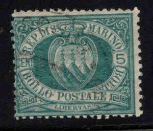 San Marino Scott 6 Used  Green 1899 stamp