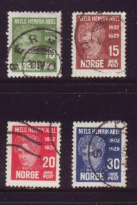 Norway Sc 145-8 1929 100th Anniversary death of Abel stamp set used
