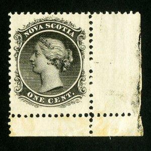 Nova Scotia Stamps # 8 XF Corner single OG NH