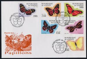 Guinea 1424-9 on FDC - Butterflies