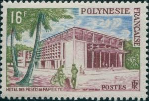 French Polynesia 1958 Sc#195,SG10 16f Post Office Papeete MNH