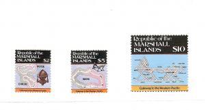Marshall Islands, 107-09, Maps Type 1984 Singles, MNH