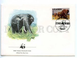 219305 UGANDA WWF elephants 1983 year first day COVER