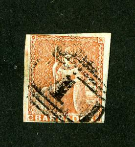 Barbados Stamps # 4 F-VF Used Scott Value $325.00