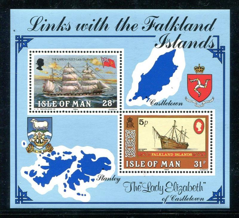 Isle of Man 259, MNH. Links with the Falkland Islands 1984. Sailing ship  x18632
