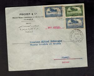 1924 Tangier Morocco Airmail COver to Flawil Switzerland Judaica Fischer & Co