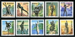 HERRICKSTAMP SAN MARINO Sc.# 1125-34 Sculptures