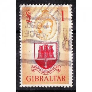 GIBRALTAR 1953 £1 Scarlet and Orange-Yellow SG158 Used