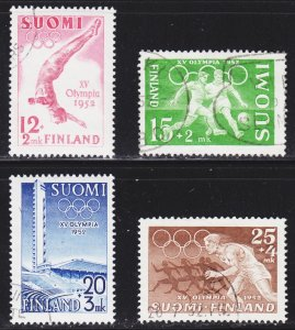 Finland Scott B110-13 complete set F to VF used.