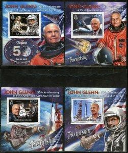 SOLOMON  ISLANDS NEVER OFFERED 2012 JOHN GLENN SET OF 4  DELUXE S/S MINT NH