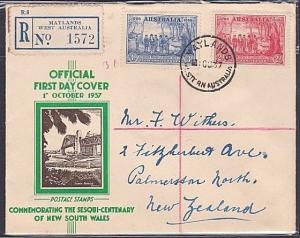 AUSTRALIA 1937 NSW 2d & 3d on registered FDC - MAYLANDS W.A. cds...........53793