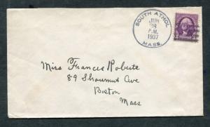 Postal History - South Athol MA 1937 Black 4-bar Cancel Cover B0362