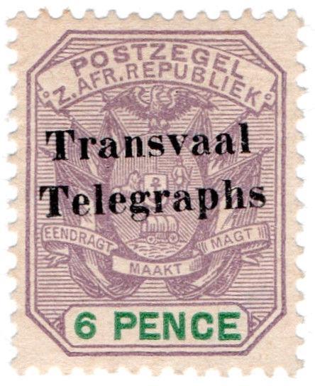 (I.B) Transvaal Telegraphs : 6d Overprint