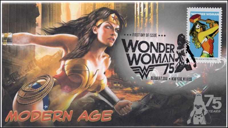 2016, Wonder Woman, Modern Age, BW Pictorial Postmark, NY NY, 16-287