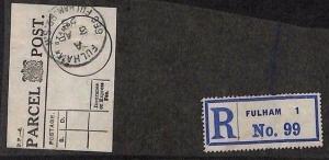 KK279 GB PARCEL POST LABEL 1925 *666 Fulham Rd* London Piece {samwells-covers}