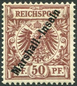 MARSHALL ISLANDS-1897-1900 50pf Red-Brown Sg G10 MOUNTED MINT V36438