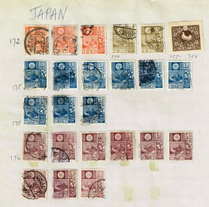 JAPAN STAMP USED STAMPS ON PAGE COLLECTION LOT  #2