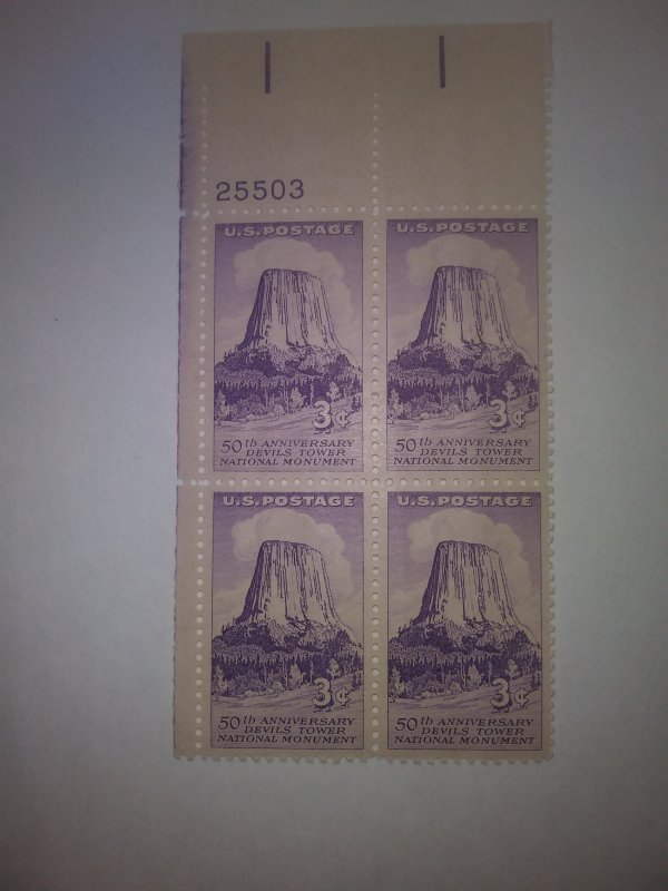SCOTT# 1084 DEVILS MOUNTAIN PLATE BLOCK MINT NEVER HINGED POST OFFICE FRESH