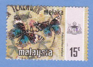 Malaysia-Malacca 79 Used - Blue Pansy