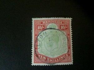 Bermuda: 1918 King George V 10/-  forged cancellation.  Used.