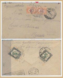 57199 - STORIA POSTALE : REGNO Sass SEGNATASSE 24 coppia su BUSTA da LIBIA 1923