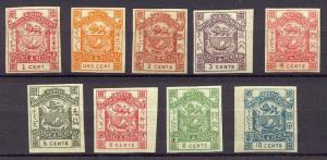 NORTH BORNEO #35-43 var Mint NH - 1887 Arms Set, Imperf