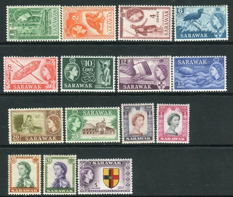 SARAWAK-1955-9  A lightly mounted mint set to $5 Sg 188-202