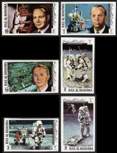 Ras Al Khaima Mi #701B-706B set/6 mnh - 1972 space - Apollo 14 Mitchell - imperf