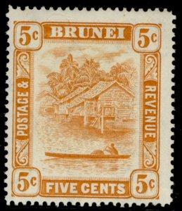 BRUNEI GVI SG82, 5c orange, LH MINT.