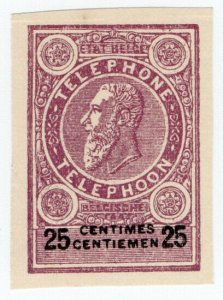 (I.B) Belgium Telegraphs : 25c Purple-Brown (proof)