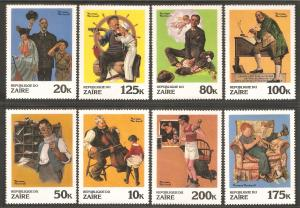 ZAIRE Sc# 1005 - 1012 MNH FVF Set-8 Norman Rockwell Paintings Art